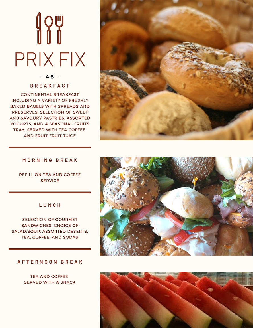 Toronto Meetings Prix Fix Menu Page